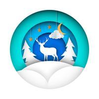 Ilustração de inverno de papel. Veado, abeto, lua, nuvem, estrela.
