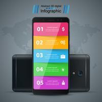Infográfico de negócios. Ícone realista do smartphone. vetor