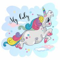 Unicórnio mágico. Meu bebê. Pônei de fada. Juba de arco-íris. Estilo dos desenhos animados. Vetor.