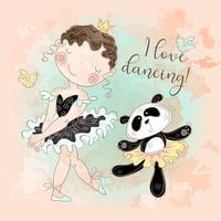Pequena bailarina dançando com bailarina de panda. Eu amo dançar. Inscrição. Vetor