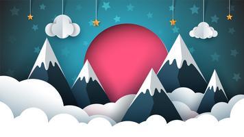 Ilustração de papel de montanha. Sol vermelho, nuvem, estrela, céu. vetor