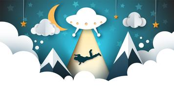 O UFO sequestra uma pessoa - ilustração de papel dos desenhos animados. vetor