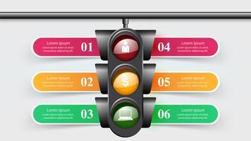Infográfico de semáforo. Seis itens. vetor