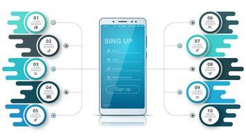 Infográfico de negócios Smartfone. Gráfico de negócios. vetor