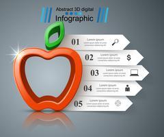 Infográfico de negócios de papel. Ícone da Apple.