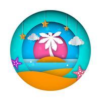 Envie, paisagem de papel, mar, nuvem, ilustração dos desenhos animados da estrela.