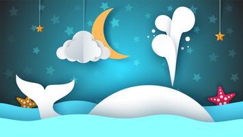 Baleia, mar, estrela, céu, lua - ilustração dos desenhos animados de papel.