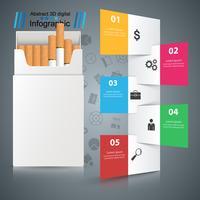Cigarro prejudicial, víbora, fumaça, infográficos de negócios.