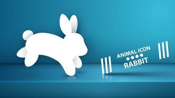Ícone de coelho de papel no estúdio azul. vetor