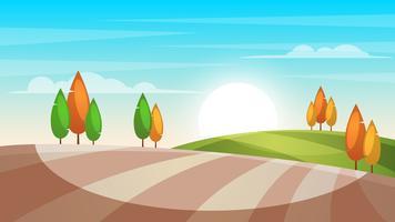 Ilustração de paisagem dos desenhos animados. Árvore, sol, campo.