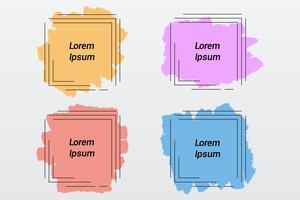 Escova de cor pastel mancha quadros de formas quadradas, pinceladas, estandartes, fronteiras vetor