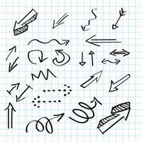 Ícones desenhados à mão de setas, design de escrita abstrata doodle