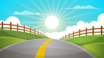 Paisagem de colina dos desenhos animados. Estrada, ilustração de viagens, cerca.