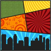 Modelos de capa de página em quadrinhos pop art com silhouett cidade vetor