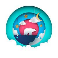 Paisagem de papel dos desenhos animados. Ilustração de urso. Estrela, nuvem, lua, montanha.