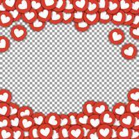 Como borda de ícones, quadro com adesivos espalhados corações de papel cortado