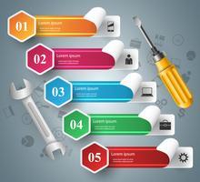 Chave inglesa, chave de fenda, ícone de reparação. Infográfico de negócios.