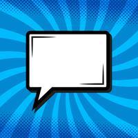 Bolha do discurso de pensamento retrô em estilo cômico Pop Art em azul