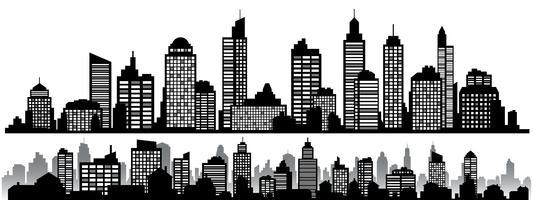 Vector conjunto de paisagens urbanas noite horizontal preto