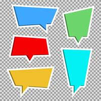 Coleção de vetores de papel de cor corta bolhas do discurso, conjunto