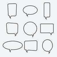 Ícones lineares de bolha do discurso, coleção vector