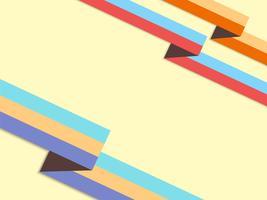 Fundo com fitas de origami estilo retro e lugar para texto vetor