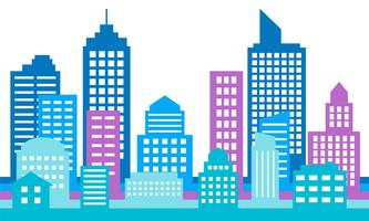 Fundo de paisagem urbana colorida, arquitetura moderna vetor