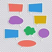 Conjunto de vetores de ícones de bolhas de discurso de cor de papel com sombras