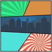 Modelo de página em quadrinhos pop art com fundos radiais e silhueta da cidade vetor