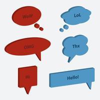 Conjunto de vetores de estilo 3d de ícones de bolha do discurso