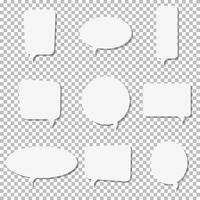 Ícones de vetor de bolha de discurso de papel branco