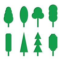 Vector conjunto de ícones de árvore de papel verde