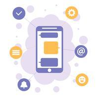 Smartphone com ícones de aplicativos, conceito de design plano de comunicação móvel