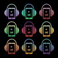 Conjunto de ícones da música conceito - fones de ouvido com o jogador