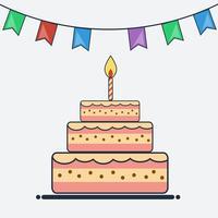 Bolo de aniversário e bandeiras bunting design plano vetor