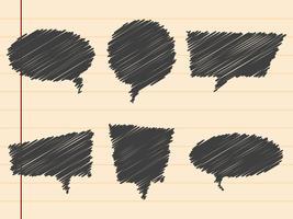Mão negra desenhada bolhas do discurso, conjunto vetor