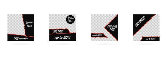 Mídia social postar modelos, coleção de banners de mídia editável