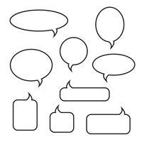 Conjunto de ícones lineares de bolhas arredondadas discurso