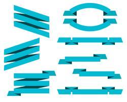 Vetor definido de banners de fitas planas azuis isolado no fundo branco