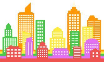 Fundo de paisagem urbana colorida brilhante, arquitetura moderna vetor