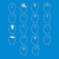 Conjunto de ícones de atividade cerebral, corte de papel branco vetor