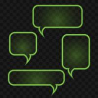 Conjunto de bolhas de discurso néon verde brilhante vetor