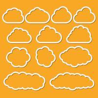 Nuvens de papel abstrato definido para mensagens vetor