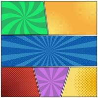 Modelo de página de quadrinhos com raios em estilo pop-art, meio-tom radial