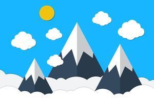Montanhas azuis e fundo de nuvens do céu vetor