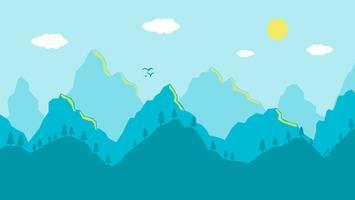 Manhã de paisagem de montanhas dos desenhos animados, vista panorâmica azul artística