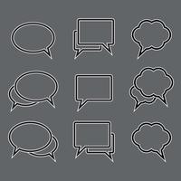 Conjunto de vetores de ícones lineares de bolha do discurso