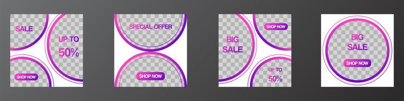 Banners de mídia social modelo editável post, modelos de promoção moderna web para marketing digital