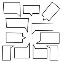 Conjunto de ícones lineares de bolhas de discurso em forma retangular