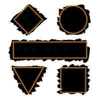Quadros na moda pretos de pinceladas de tinta, vector set